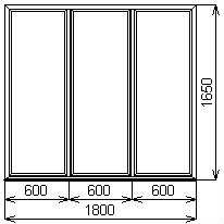 Противопожарное окно 1800х1650