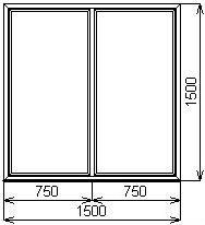 Противопожарное окно 1500х1500