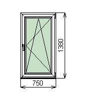 Готовые пластиковые окна ПВХ Novotex 750 х 1380 мм