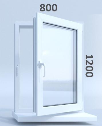 Готовые пластиковые окна ПВХ Novotex 800 х 1200 мм