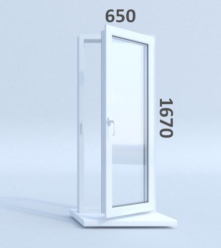 Готовые пластиковые окна ПВХ Novotex 650 х 1670 мм